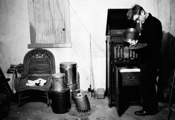 James Dean in his aunt and uncle's basement in Indiana, 1955.