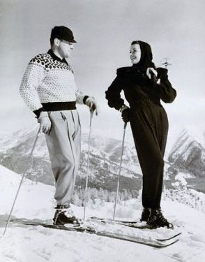 "Sun Valley, Idaho, USA --- 1/13/1948- Sun Valley, ID: Jane Russell, who is spending some time at Sun Valley learning to ski, pauses with her instructor Toni Matt. The movie star is allegedly adept at ""schussing."" --- Image by © Bettmann/CORBIS"