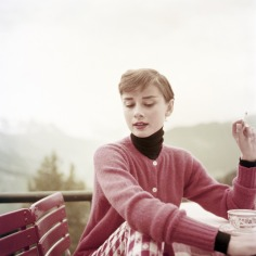 Belgian-born actress Audrey Hepburn (1929 - 1993) on the terrace of the Restaurant Hammetschwand at the summit of the Bürgenstock, Switzerland, circa 1955. (Photo by Archive Photos/Getty Images)